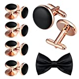 Aienid Mens Cufflinks and Studs Set for Tuxedo Classic Black Wedding Business Shirt
