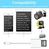 SD Card Reader, Lightning Adapter for iPhone (Support iOS 11.2.5 and Before), Trail Game Camera Viewer for iPhone X/8 Plus/8/7 Plus/7/6s Plus/6s/6 Plus/6/5 iPad Mini/Air, No App Required, [Upgraded]
