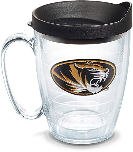 Tervis 1079364 Missouri Tigers Athletic Logo Tumbler with Emblem and Black Lid 16oz Mug, Clear