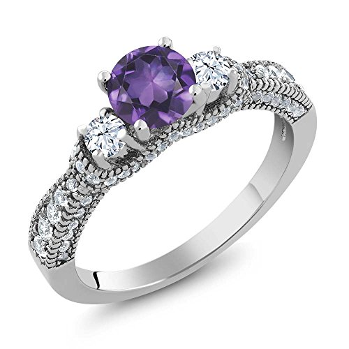 1.97 Ct Round Purple Amethyst and White Topaz 925 Sterling Silver Women's Ring (Ring Size 8) (Round Purple Sapphire)
