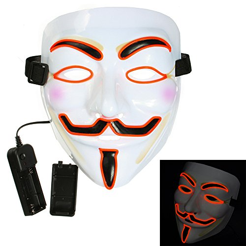 Bonamana Cool V for Vendetta Guy Fawkes Mask LED Light Up Mask Costume EL Wire Halloween Mask (Jig Saw Costume)