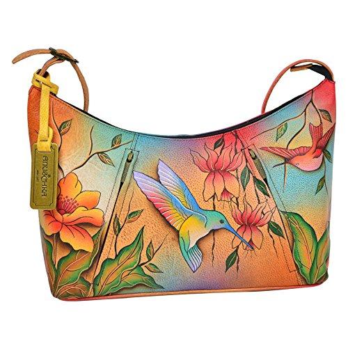 Anuschka Hand Painted Designer Leather Handbag -Christmas gifts for women-Top Zip Hobo (Flying Jewels 450 FLJ) -
