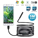 USB Endoscope, 5.5mm Semi-Rigid Inspection Camera for Android, Windows & MacBook Device with 6 Led - 16.4ft(5M)