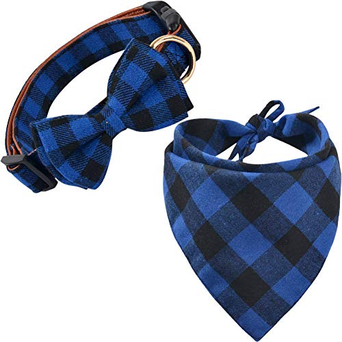 KZHAREEN Dog Bandana and Collar Set Plaid Scarf Triangle Bibs Kerchief Collar with Cute Bow ()