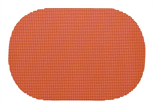 Kraftware 39136 Fishnet Placemat Dz, Oval, Peach - Oval Peach