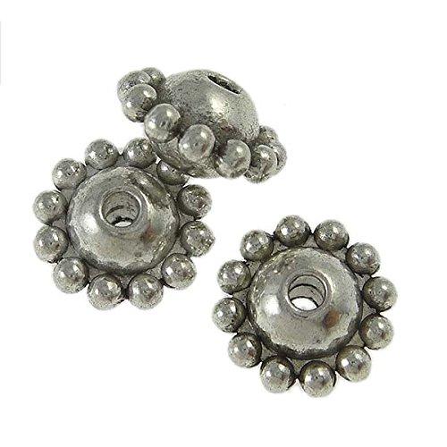 10 Metallperlen Spacer Beads 8mm Perlen Silber farben Basteln Zwischenperlen DIY