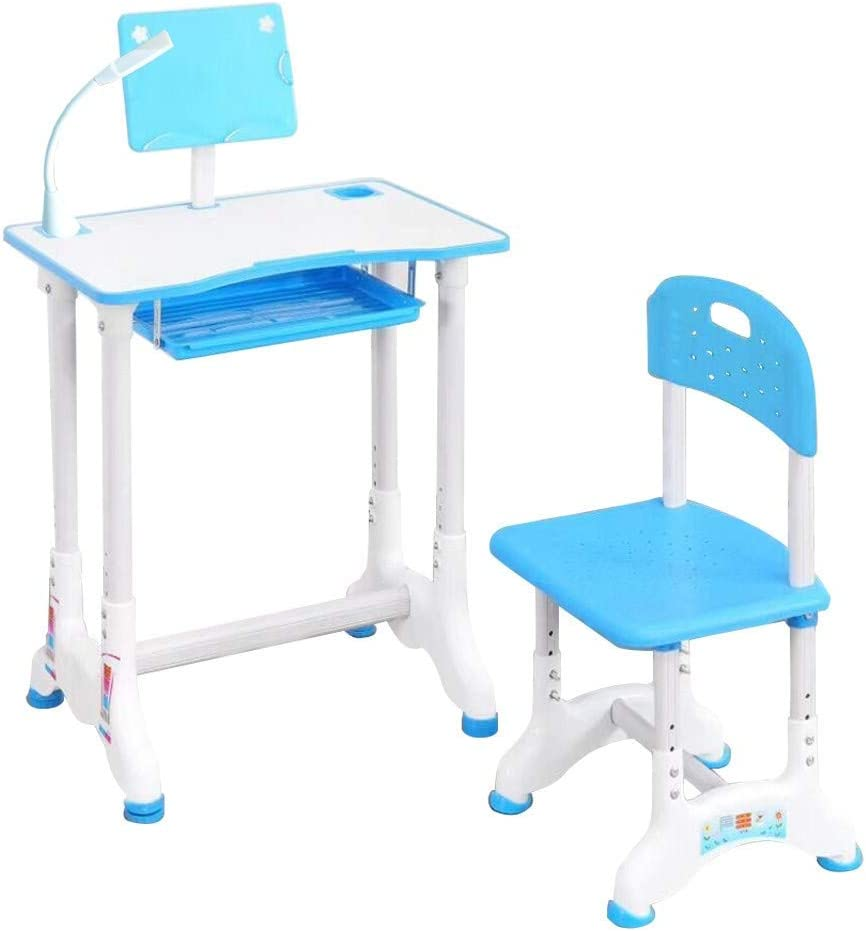 Fekuit Student Desk and Chair Children Desk Study Table with Drawer Storage,Bookstand,School Study Table and Chair Set for Boys /& Girls Height Adjustable Writing Desk