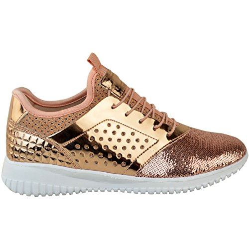 Mode Dorstige Dames Flat Lace Up Pailletten Sparkly Sneakers Pumps Schoenen Maat Rose Goud Metallic