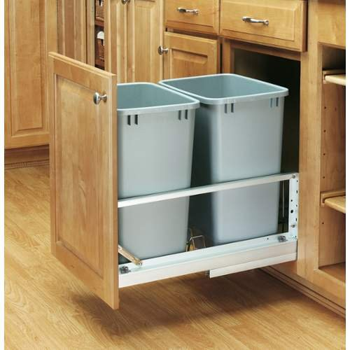 Rev-A-Shelf 5349-18DM-2 Double 35 Quart Pull Out Waste Container with Soft-Close, Metallic Silver