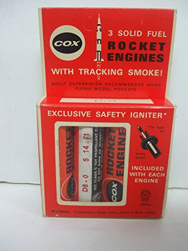 Vintage Cox #8480 - Pack of 3 - D8-0 Solid Fuel Rocket Engines with Tracking (Solid Fuel Rocket)