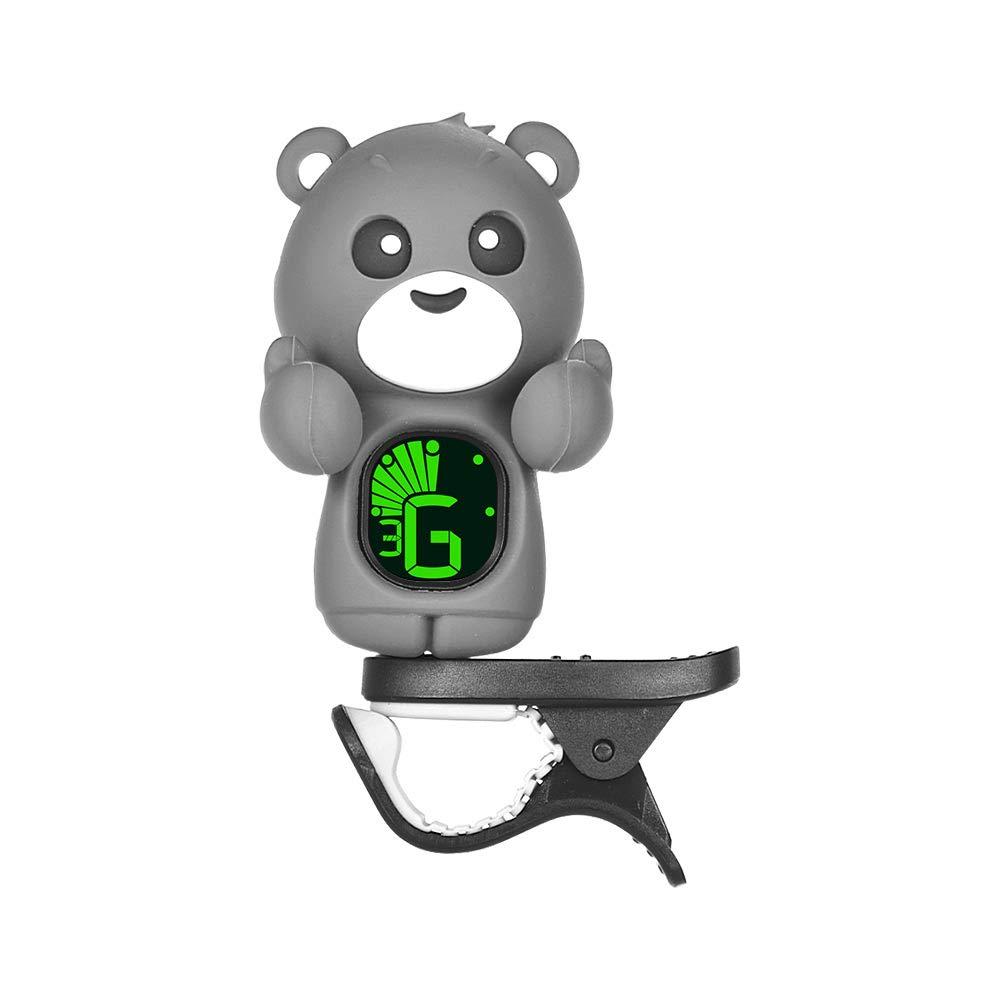 Muslady Ours de dessin animé mignon Accordeur à clipser Écran LCD pour guitare basse chromatique ukulélé violon