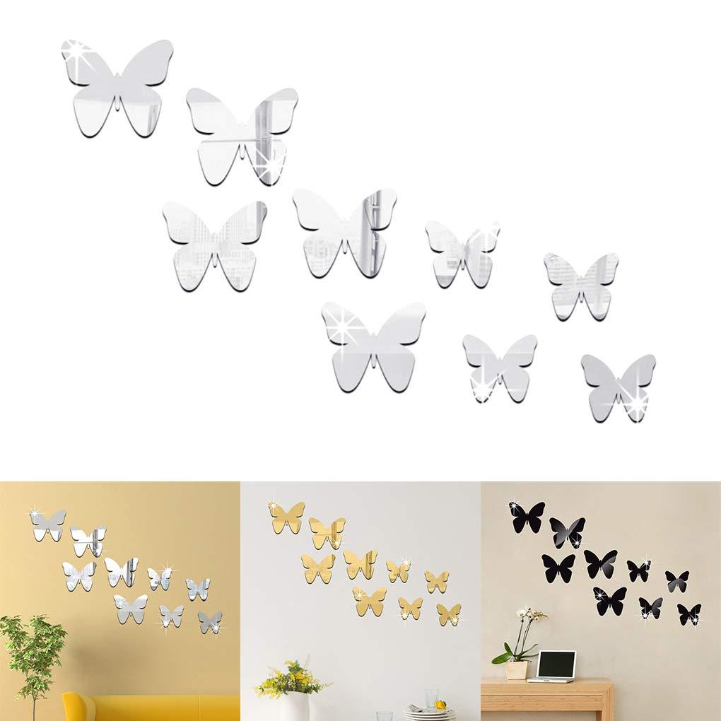 fgyhtyjuu 9PCS Set DIY 3D de Pared pl/ástico Espejo Mariposa Pegatina de la Etiqueta Efecto Espejo Calcoman/ías Sal/ón casa Impresiones Decoraci/ón