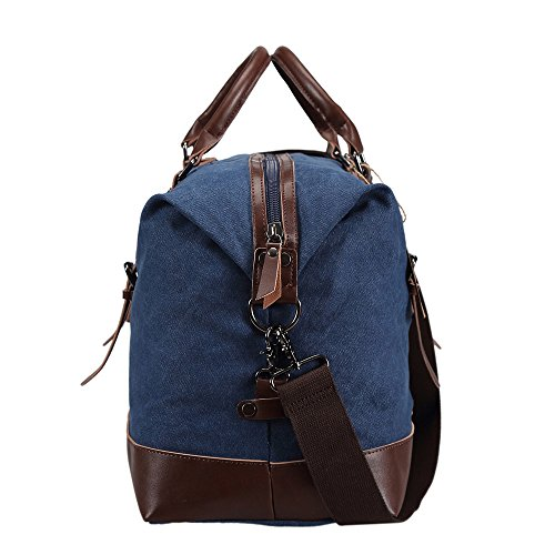 Ulgoo Travel Duffel Bag Canvas Bag PU Leather Weekend Bag Overnight (Deep Blue) by Ulgoo (Image #3)