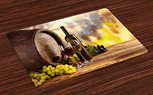 Ambesonne Wine Place Mats Set of 4, Red and White Wine Bottle Glass on Wooden Keg Quality Taste Traditional, Washable Fabric Placemats for Dining Room Kitchen Table Decor, Brown Pale Green Yellow