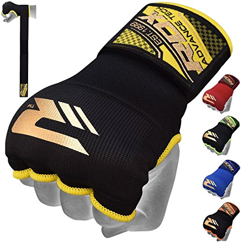 RDX Boxing Hand Wraps Inner Gloves for Punching - Elasticated Padded Bandages Under Mitts - Quick Long Wrist Support, Fist Protector - Great for MMA, Muay Thai, Kickboxing & Martial Arts Training from RDX
