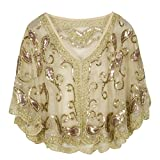 PrettyGuide Women's Evening Cape 1920s Vintage Cocktail Flapper Beaded Shawl Champagne Beige