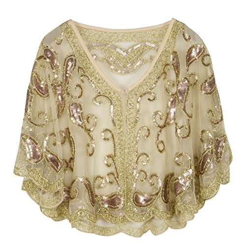- PrettyGuide Women's Evening Cape 1920s Vintage Cocktail Flapper Beaded Shawl Champagne Beige