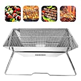 HWENK Portable Charcoal Barbeque Grill,Stainless Steel Compact Folding Barbeque Grill Carry-On BBQ Grill for Camping,Picnics, Backpacking, Backyards, Survival