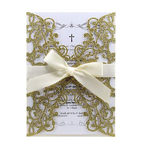 UNIQLED 25 PCS Glitter Wedding Invitations Cards Luxury Bling Laser Cut Hollow Vine Pattern with Ribbons for Bridal Shower Engagement Birthday Graduation (Gold Glitter)