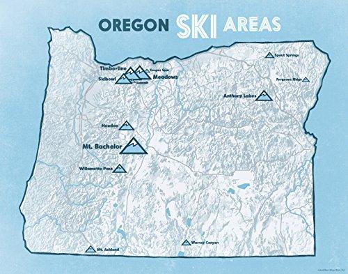 Oregon Ski Resorts Map 11x14 Print (White & Light ()