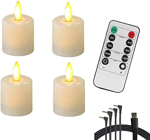 Rechargeable Candles Flameless Flickering Candles ,Realistic Moving Wick LED Fake Tealight