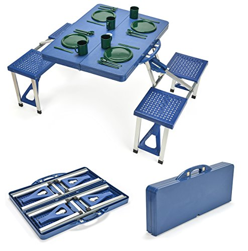 Trademark Innovations Portable Folding Picnic Table with 4 Seats (Duty Picnic Benches Heavy)