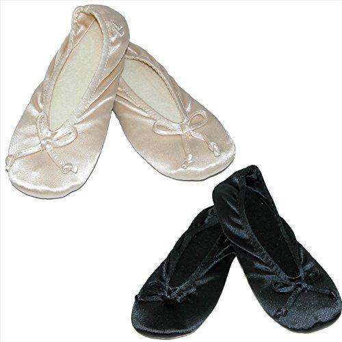 Isotoner Womens Satin Plus Size Ballerina Slippers (Pack of 2) Black/Black J7FEgN