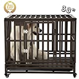 SMONTER 38' Heavy Duty Strong Metal Dog Cage Pet Kennel Crate Playpen with Wheels, I Shape, Brown …