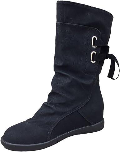 Anxinke Women Fashion Buckle Strap Low Heel Knee-high Riding Boots