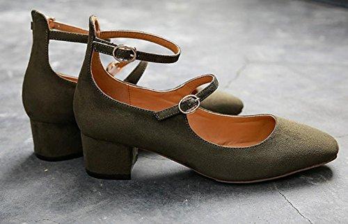Retro zapatos nuevos hebilla de cabeza cuadrada de la boca baja solos zapatos de mujer en bruto con Green