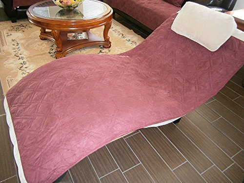 - Bonded Micro Suede Quilted Sectional Chaise Lounge Sectional Sofa Throw Pad Furniture Protector Sold By Piece Rather Than Set (Wine/Burgundy, 35x70