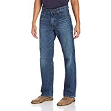01f66070 Image Unavailable. Image not available for. Color: Lucky Brand Men's Dark  WASH 181 Relaxed Straight Jeans ...