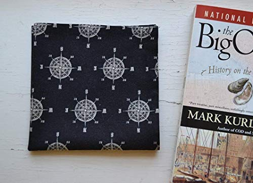 Cotton Pocket Scarf or Hankie - Compass and Wheel Nautical Print Cram on Black