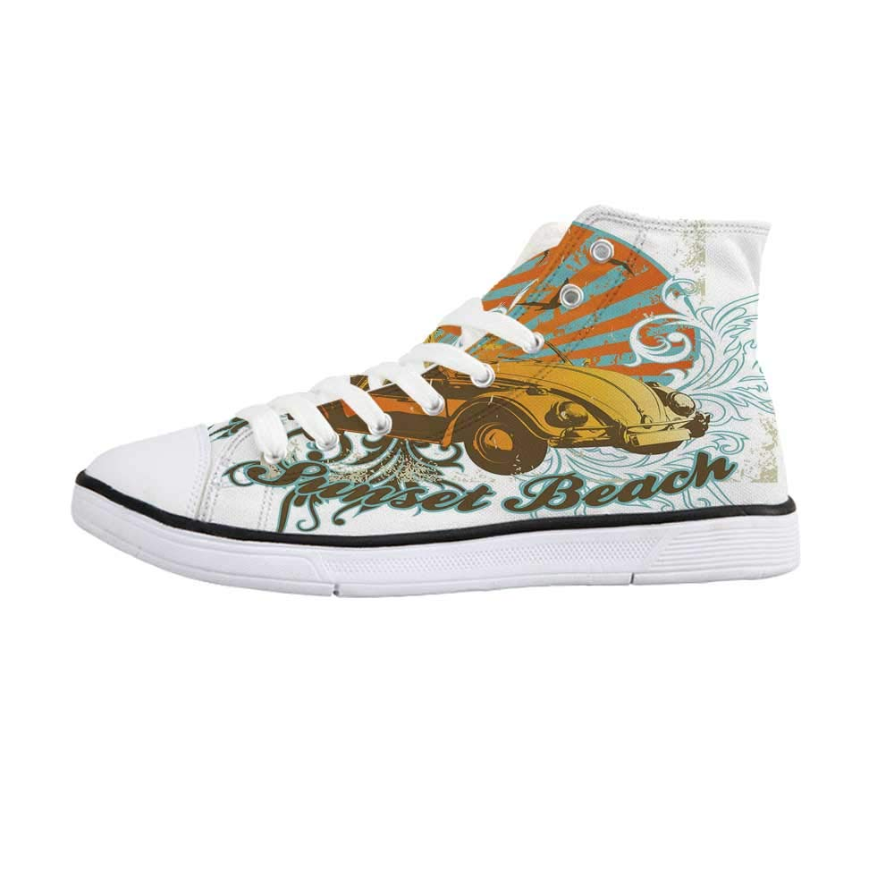 Cars Comfortable High Top Canvas Shoes,Steampunk Inspired Vintage Means of Transportation Colorful Retro Design Decorative for Women Girls,US 5