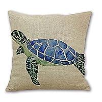 """Animal Tortuga marina Pared Algodón Lino Funda de almohada decorativa Cojín Cojín Funda de cojín Cuadrado 18 """"* 18"""" Vida en el hogar"""