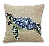 "Animal Sea Turtle Wall Cotton Linen Decorative Pillowcase Throw Pillow Cushion Cover Square 18"" * 18"" Home Life"