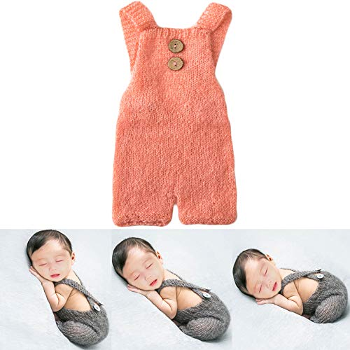 Baby Photography Props Boy Girl Photo Shoot Outfits Newborn Crochet Costume Infant Knitted Clothes Mohair Rompers (Light Orange) ()