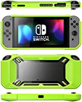 Carcasa Mumba Para Nintendo Switch [Reforzada] Carcasa Dura, Delgada y Cubierta en Goma [Enganchable] para Nintendo Switch version 2017 (negro/verde)