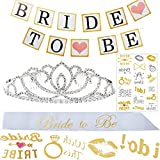 Bachelorette Party Decorations Set for Bride To Be, Bridal Shower Supplies with Metal Tiara Crown, Banner, Sash, Gold Bride Tribe Tattoos