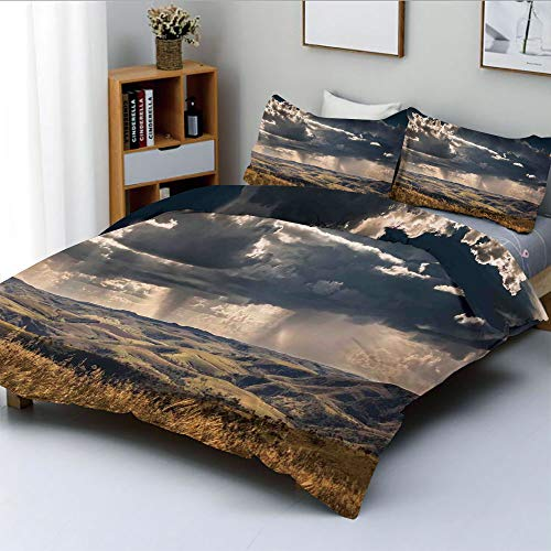 Duplex Print Duvet Cover Set King Size,Puffy Clouds in Sky Over Mountains Rough Valley Canyon Natural Wonders ConceptDecorative 3 Piece Bedding Set with 2 Pillow Sham,Multi,Best Gift for Kids & ()