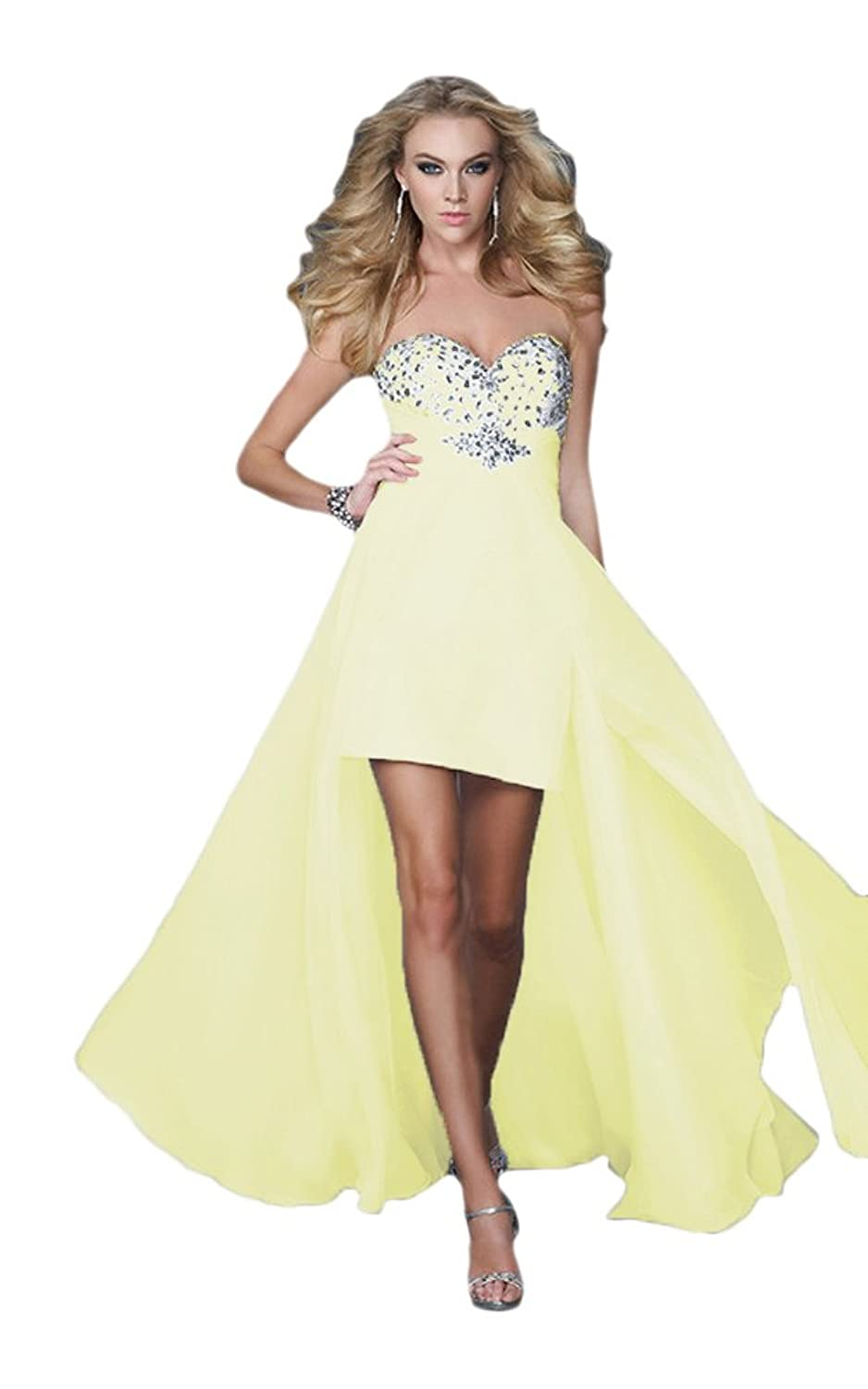 Vimans? Lady's High Low Yellow Sweetheart Dresses for Party Evening