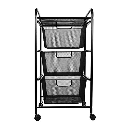 YIMU Mesh File Cart With 3 Storage Drawers, 3 Tier Metal Office Supply Rolling  Cart, Black