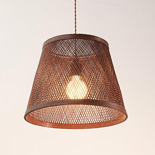 CGJDZMD Modern Simplicity Grid Ceiling Pendant Lights Hand Woven Grass Rattan \ Willow Hanging Lamp Restaurant Cafe Bedroom Chain Adjustable Chandelier Suspension Light