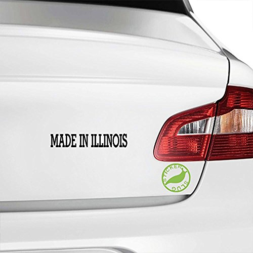 Stickerslug Made in Illinois Decal (Gloss Black, 8 inch) for car Truck Window SUV Boat Motorcycle and All Other auto Glass and Bumper in Gloss - Illinois Auto Truck