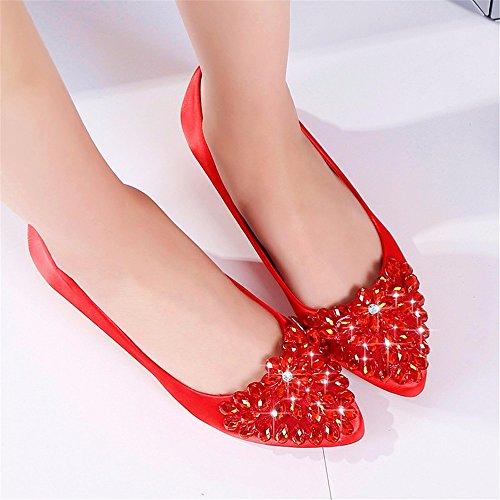 HXVU56546 Primavera Y Otoño Zapatos De Mujer Zapatos De Tacones De Cristal Rugoso Y Brillantes Zapatos De Mujer gules