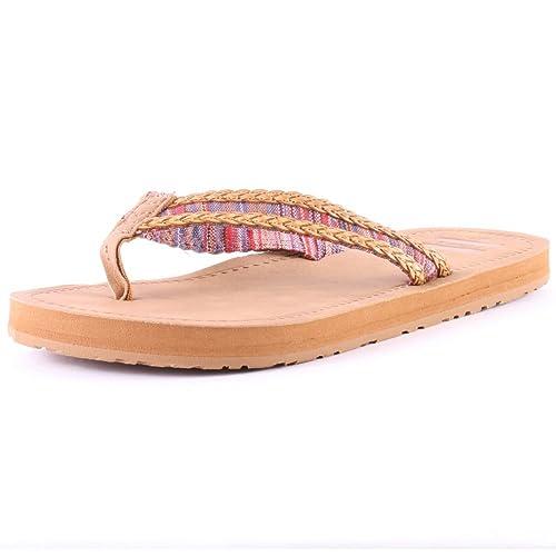 d0de3dc18b8 TOMS Women s Solana Flip Flop Sand Pink Mix Textile Sandal 5 B ...