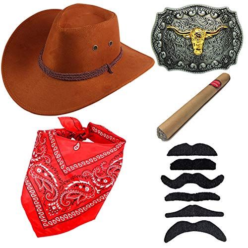 Western Cowboy Costume Accessories - Faux Felt Cowboy Boots Hat,Golden Long Horn Bull Belt Buckle,Cowgirl Bandanna,Tangerine Yellow ()