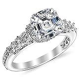 1.35 Carat GIA Certified Asscher Cut 14K White Gold Designer Four Prong Pave Set Round Diamonds Engagement Ring (D-E Color VS1-VS2 Clarity Center Stones)