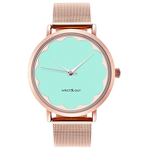 WRISTOLOGY Olivia Womens Scalloped Rose Gold Watch Blue Turquoise Face Metal Mesh Strap