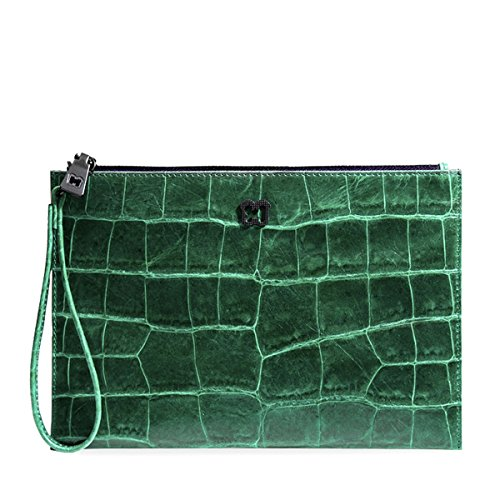 Eric Javits Luxury Designer Women's Fashion Handbag - Flat Zip Clutch - Emerald by Eric Javits